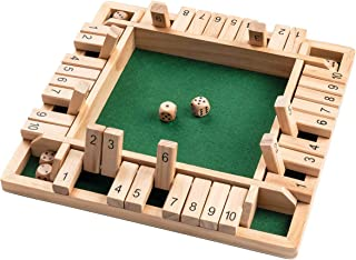ROPODA 4-Way Shut The Box Dice Game (2-4 Players) for Kids + Adults [4 Sided Large Wooden Board Game, 8 Dice + Shut-The-Box Rules] Smart Game for Learning Numbers, Strategy + Risk Management