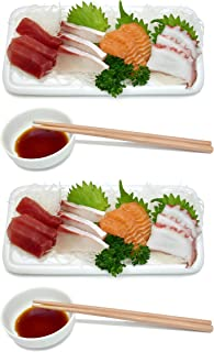 Ceramic Sushi Platter Dish Tray Japanese Dinner Set with Chopsticks and Soy Sauce Dish Set for 2