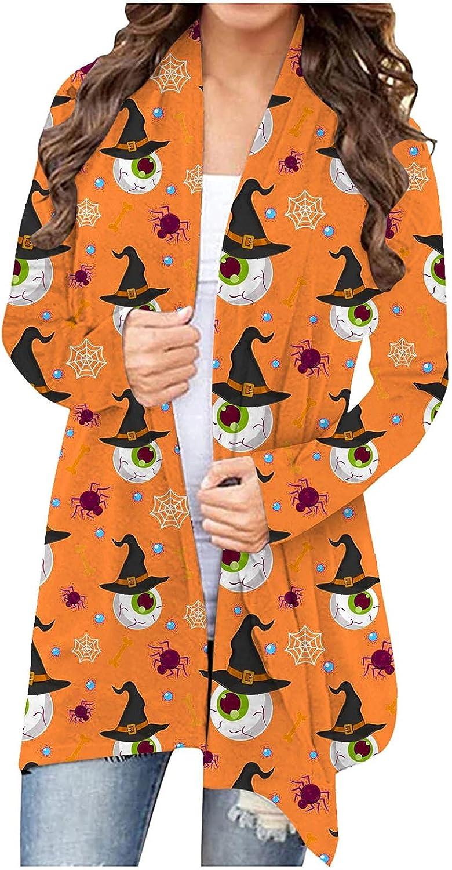 felwors Womens Cardigan, Womens Halloween Coat Long Sleeve Open Front Funny Cute Pumpkin Cat Ghost Tops Lightweight
