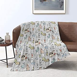 jecycleus Animal Rugged or Durable Camping Blanket Cute Cow Horse Pigs Chicken Sheep Farmhouse Mascots Kids Nursery Ba Cartoon Print Warm and Washable W80 x L60 Inch Multicolor