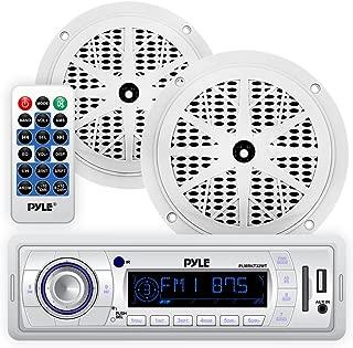 Marine Headunit Receiver Speaker Kit - In-Dash LCD Digital Stereo w/ AM FM Radio System 5.25'' Waterproof Cone Speakers (2) MP3/USB/SD Readers Single DIN & Remote Control - Pyle White PLMRKT32WT