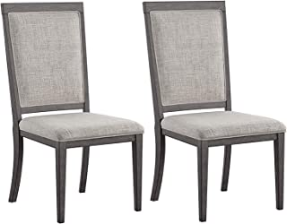Wood & Style Furniture Chadoni Dining Side Chair - Set of 2 - Upholstered - Metal Accents - Smoky Gray Finish Home Office Commerial Heavy Duty Strong Décor