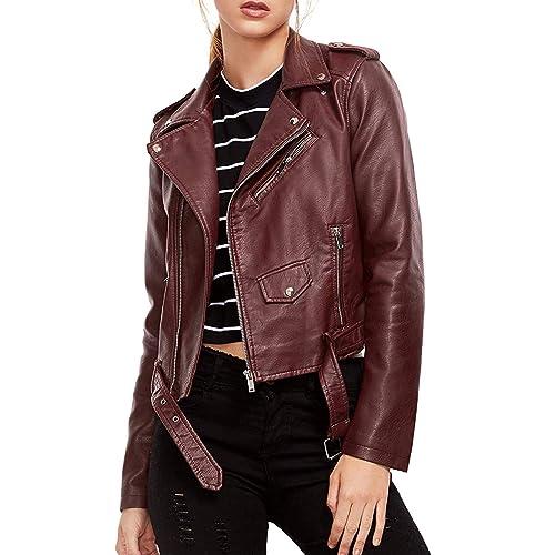 3d652f49fa5 Verdusa Women's Faux Leather Motorcycle Biker Short Coat Jacket Slim Zipper  Jacket