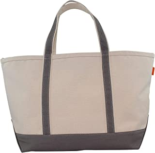 CB Station and Durable 18 oz Cotton Canvas Boat Tote Bag with Zipper, Large - 14