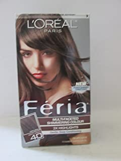 L'Oreal Feria Multi-Faceted Shimmering Colour, 40 Deeply Brown, 1 ea (Pack of 4)