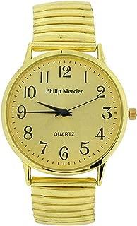 Philip Mercier Gents Goldtone Expander Bracelet Strap Dress Watch MC56B