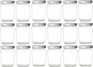 Nakpunar 18 pcs 6 oz Honey Pot Glass Jars with White Lids - MADE IN USA - Globe, Spherical (6 oz - Honey Pot, White)