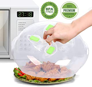 Microwave Plate Cover - Magnetic Hover Function | Microwave Lid Food Cover | Magnetic Microwave Splatter Lid with Steam Vents | 11.8 Inch & BPA-Free