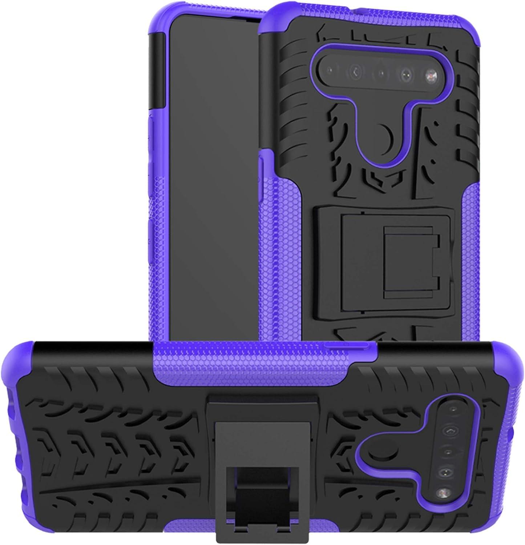 LiuShan Compatible con LG K51S Funda,LG K41S Funda,Heavy Duty Silicona Híbrida Rugged Armor Soporte Cáscara de Cubierta Protectora de Doble Capa Caso para LG K51S /LG K41S Smartphone,Púrpura