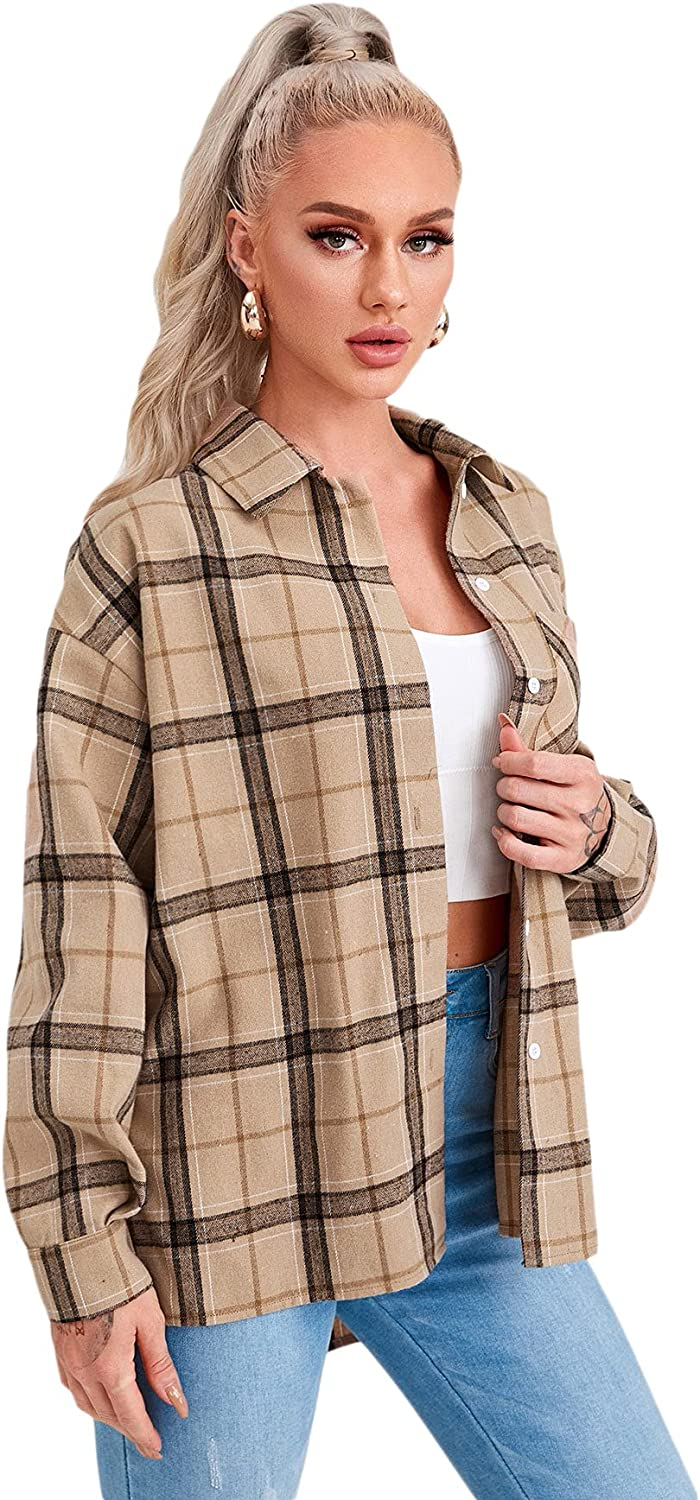 SOLY HUX Women's Plaid Long Sleeve Button Down Shirt Pocket Front Top Blouse