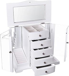 SONGMICS JBC57W Boîte à Bijoux en Bois avec Porte en Acrylique Transparent, 4 tiroirs, Blanc, Style Maison de Campagne