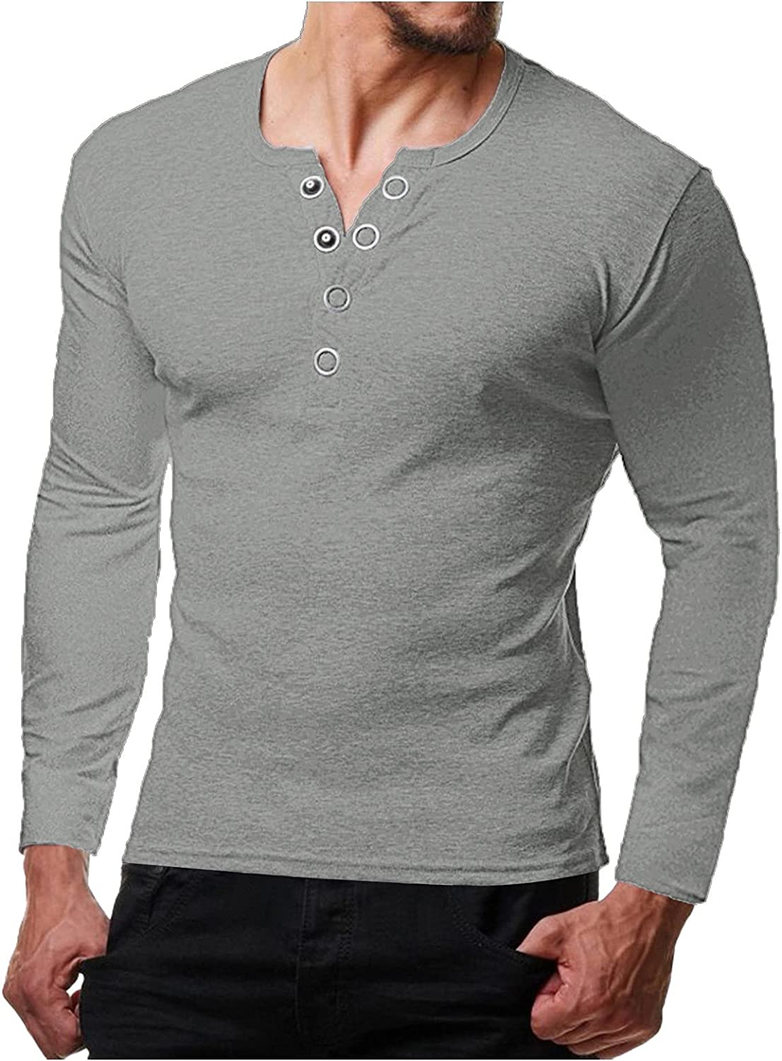Mens Classic fit Henley Shirt Long Sleeve Casual V Neck Slim Relaxed-fit Soft Home Pajamas Sport Fitness Undershirts