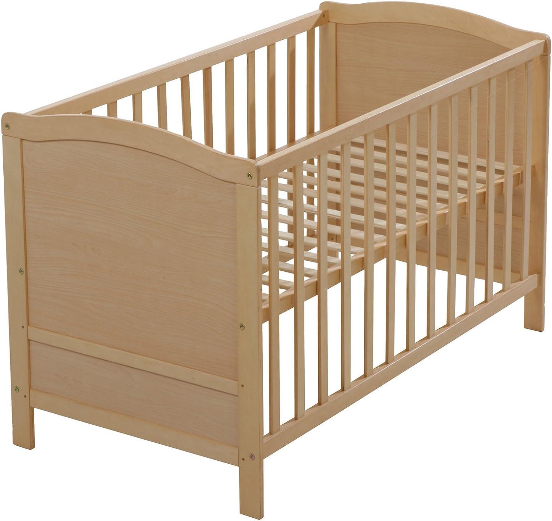 Roba Baby- & Kinderbett, 60x120 cm, Babybett, 3-fach hhenverstellbar, Holz natur, Flachstbe