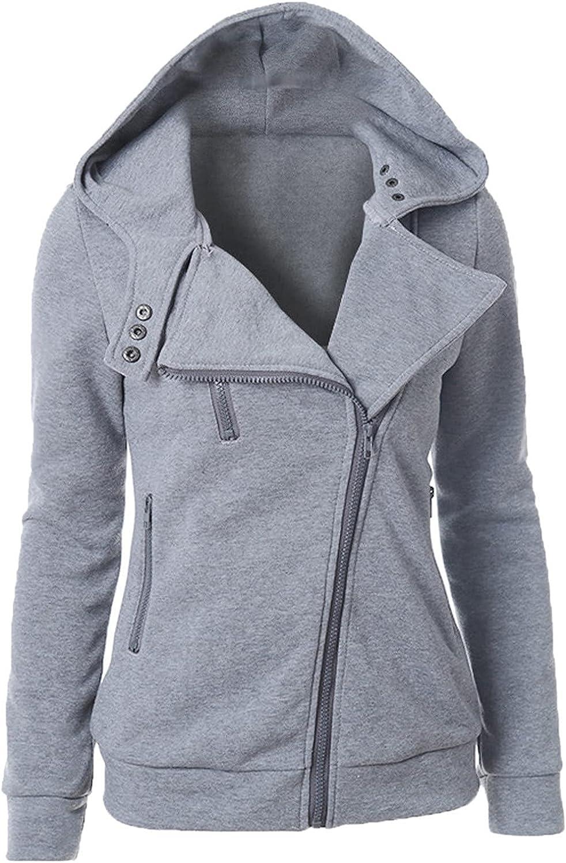 Womens Oblique Zipper Jacket Fleece Hooded Sweatshirt Long Sleeve Lightweight Tunics Hoodies Slim Fit Zip Up Coat