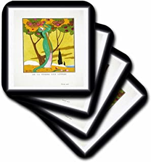 3dRose CST_62258_1 French Pre Art Deco Woman Picking Fruit Painting 1913 Soft Coasters, Set of 4