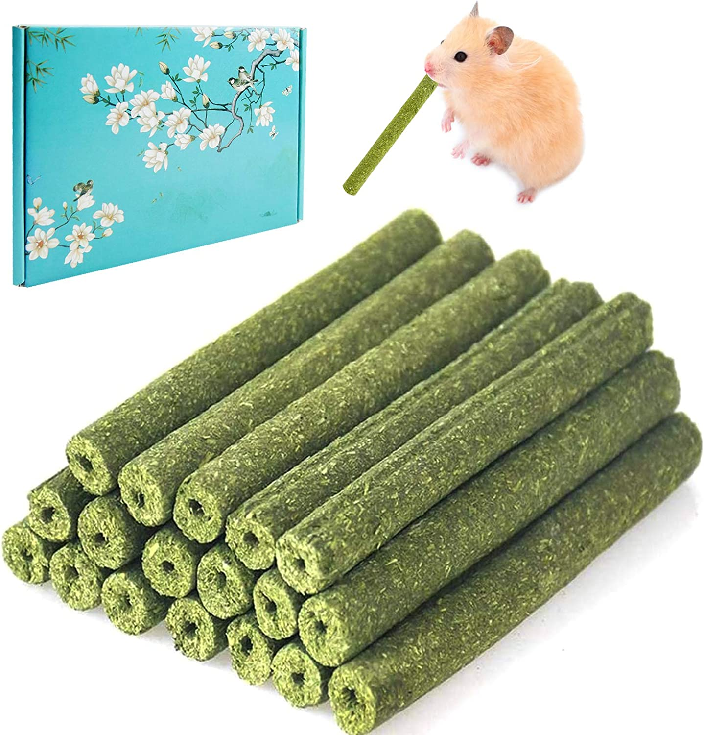 30 PCS Timothy Hay Sticks for Rabbits Guinea Pig Hamsters Chinchilla Bunny Chew Toys for Teeth Treats Accessories