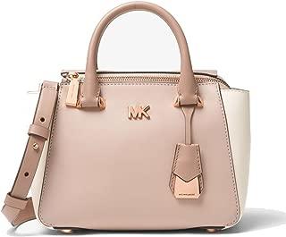 MICHAEL Michael Kors Nolita Mini Color-Block Leather Bag, Soft Pink Fawn Light Cream
