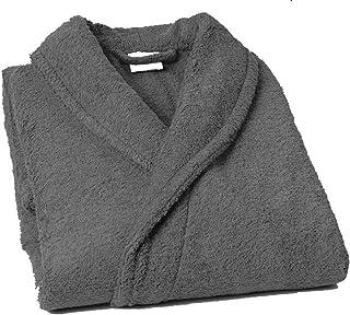 Lasa Pure Albornoz con Cuello Tipo Smoking, algodón 100%, Gris, XXL