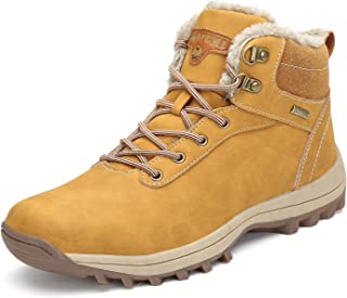 Mens Womens Winter Ankle Snow Hiking Boots Warm Water Resistant Non Slip Fur Lined - coolthings.us