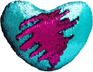 Cojín reversible de Dr Cosy con forma de corazón y diseño de cola de sirena en dos colores con lentejuelas (35 x 40 cm)