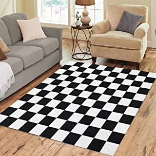 Pinbeam Area Rug Checker Black and White Checkered Abstract Pattern Table Home Decor Floor Rug 5' x 7' Carpet
