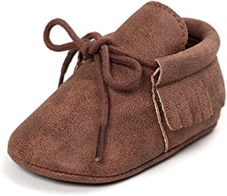Antheron Infant Moccasins - Unisex Baby Boys Girls Soft Sole Tassels Toddler First Walker Shoes
