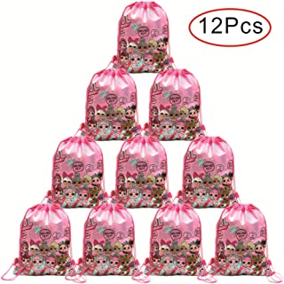 Bsstr 12 Pack LOL Drawstring Party Bag, Party Favors Bags Drawstring Backpacks Gifts Bags Birthday Party Supplies Favor Bag for kids Children Girls Baby Shower