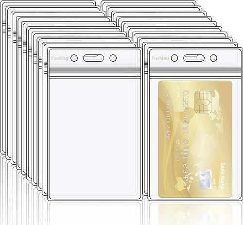 Fushing 20 Porte-badge double en PVC transparent avec fermeture éclair refermable et étanche, porte étiquette en plas...