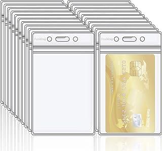 Fushing 20 Porte-badge double en PVC transparent avec fermeture éclair refermable et étanche, porte étiquette en plastiqu...