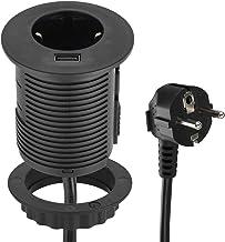 Energaline 62558 Tafelblad Grommet Inbouwstopcontact met USB Fast Charge 2.A & Standaard Kabeldoorvoer, Diameter 60 mm (Ta...