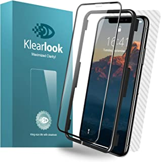 Klearlook HD Tempered Glass Screen Protector Compatible with iPhone Xs/iPhone X 5.8 inch Full Coverage Case Friendly 1 Front Tempered Glass and 1 Back Skin Film for iPhone Xs/X
