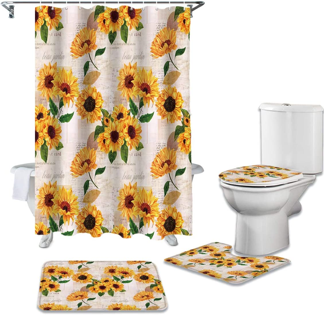 Recommendation CHARMHOME 4 Piece Shower Curtain Sets Non-Slip Toilet Rug with Max 51% OFF