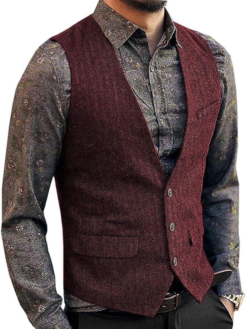 Fitty Lell Suit Vest for Men Herringbone Tweed Waistcoat Single Breasted Slim Fit Vest