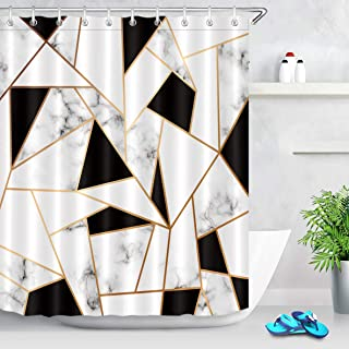 LB Abstract Geometric Shower Curtain, Black and White Marble Texture Bathroom Curtain Set with Hooks,72x72 Inch Waterproof Fabric Bathtub Decor