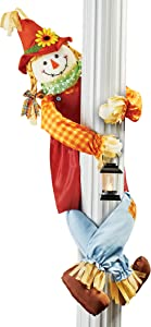 Girl Scarecrow Porch or Tree Hugger with Lit Lantern   Moveable Arms and Legs   for Porch Column, Fence Railing, Tree Branch   Polyester, Plastic, Iron