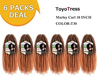 Toyo Tress Ombre Brown Marley Hair For Twists 18 Inch 6packs Long Afro Marley Braid Hair 100% Kanekalon Synthetic Fiber Marley Braiding Hair Extensions (18