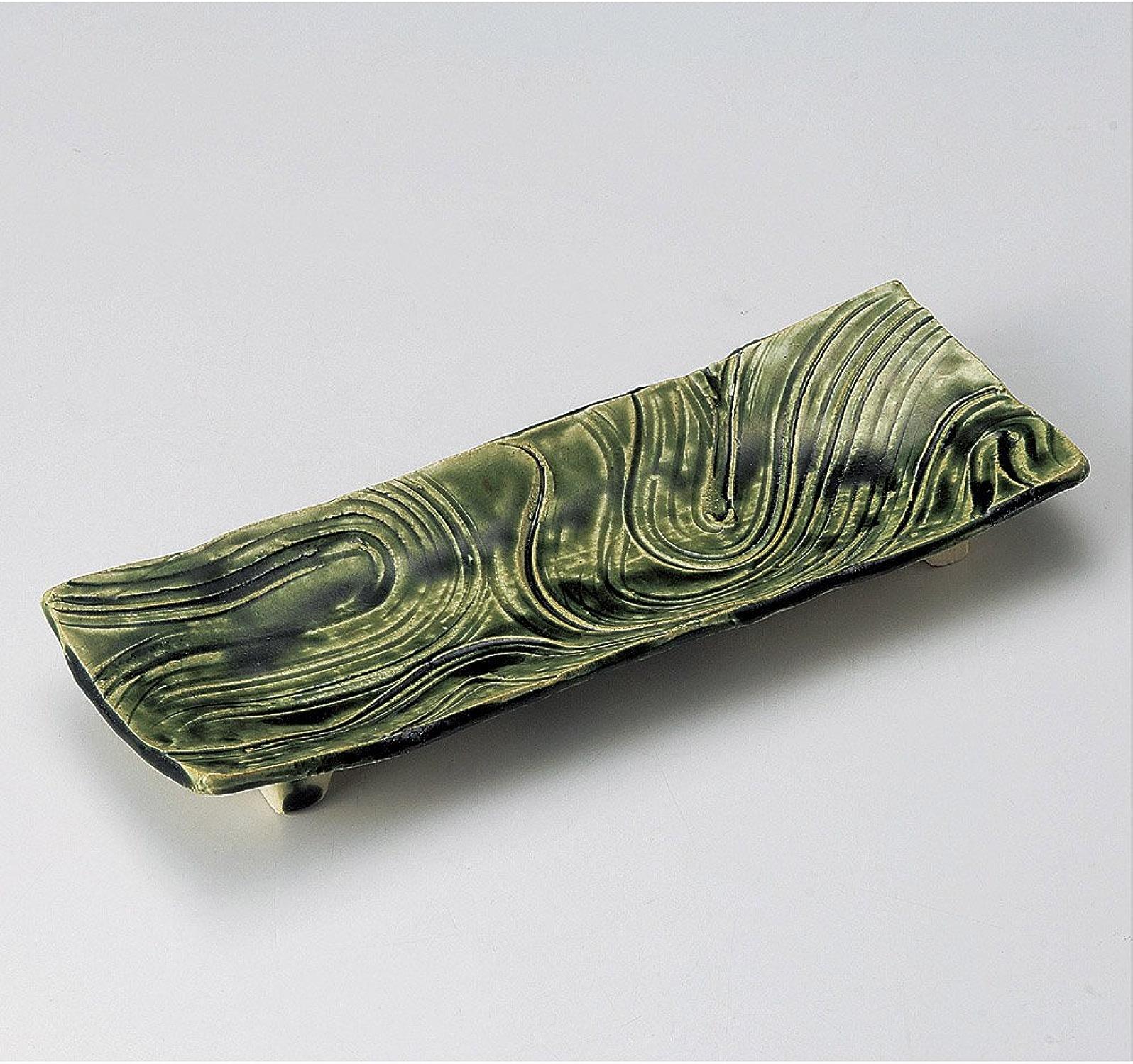 Tissage Plat Long Peigne long Plat Rectangulaire [29x 11.5x 3cm] Argile fait à la main. 415G plaques Plat japonais traditionnel Oriental asiatique