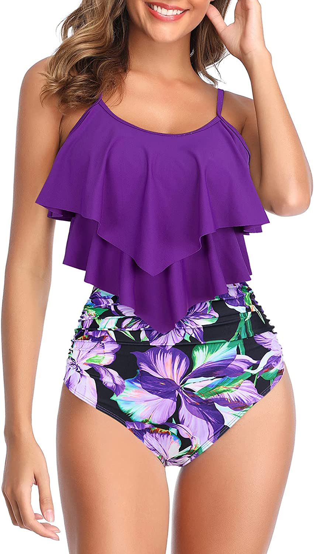 Zando Womens Tankini Bathing Suits Tankini Tops with High Waisted Bottoms 2 Piece Swimsuit Tummy Control Swimwear