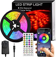 Bluetooth LED Strip Lights Music Sync, Waterproof 5m 5050 RGB 150 LEDs Light Strip with APP and Remote Control for Bedroom...