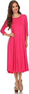 hot pink midi dress with sleeves