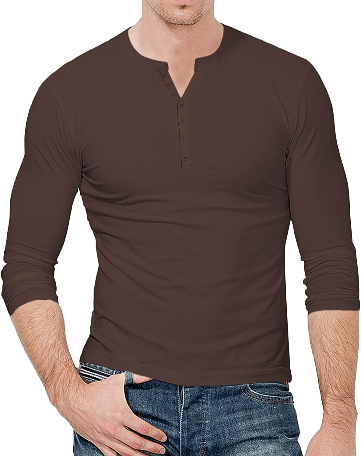 LecGee Men's Henley Shirt Long Sleeve with Superior 3 Spasm price B Casual Top