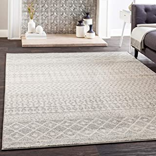 "Harput 6' 7"" x 9' Moroccan Bohemian Pattern - Farmhouse Area Rug - Rectangle - Polypropylene - Light Gray, Medium Gray, White"