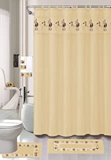 AHF/WPM Beverly Beige 18-Piece Bathroom Set: 2-Rugs/mats, 1-Fabric Shower Curtain, 12-Fabric Covered Rings, 3-pc. Decorative Towel Set