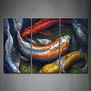 First Wall Art - Colorful Koi Swimming In Water Wall Art Painting The Picture Print On Canvas Animal Pictures For Home Decor Decoration Gift