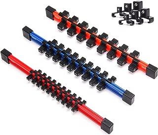 CASOMAN 3PC Double Sided Socket Organizer, 1/4-Inch, 3/8-Inch, 1/2-Inch, SAE And Metric Socket Holder Rails Set, Premium Quality Socket Holder