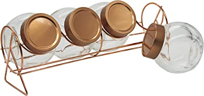 Goodhomes GHJ-Jar-1013 Glass Jar With Copper Lid And Metal Stand - 210 ml, 8 Pieces, Clear