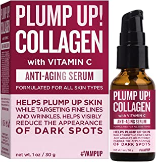 Vamp Up Plump Up! Collagen with Vitamin C Anti-Aging Face Serum, Targets Fine Lines & Wrinkle, Dark Spot Treatment Facial ...