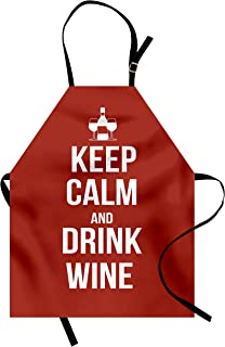 Ambesonne Keep Calm Apron, Wine Theme with a Bottle and 2 Glasses Popular Slogan About Alcoholic Drink, Unisex Kitchen Bib with Adjustable Neck for Cooking Gardening, Adult Size, White Ruby