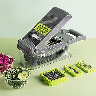 Nileco Coupe-légumes avec Récipient,Coupe-Oignon Dicer Multifonction Salade Food Cutter Spiralizer,Cuisine Trancheur de Ma...