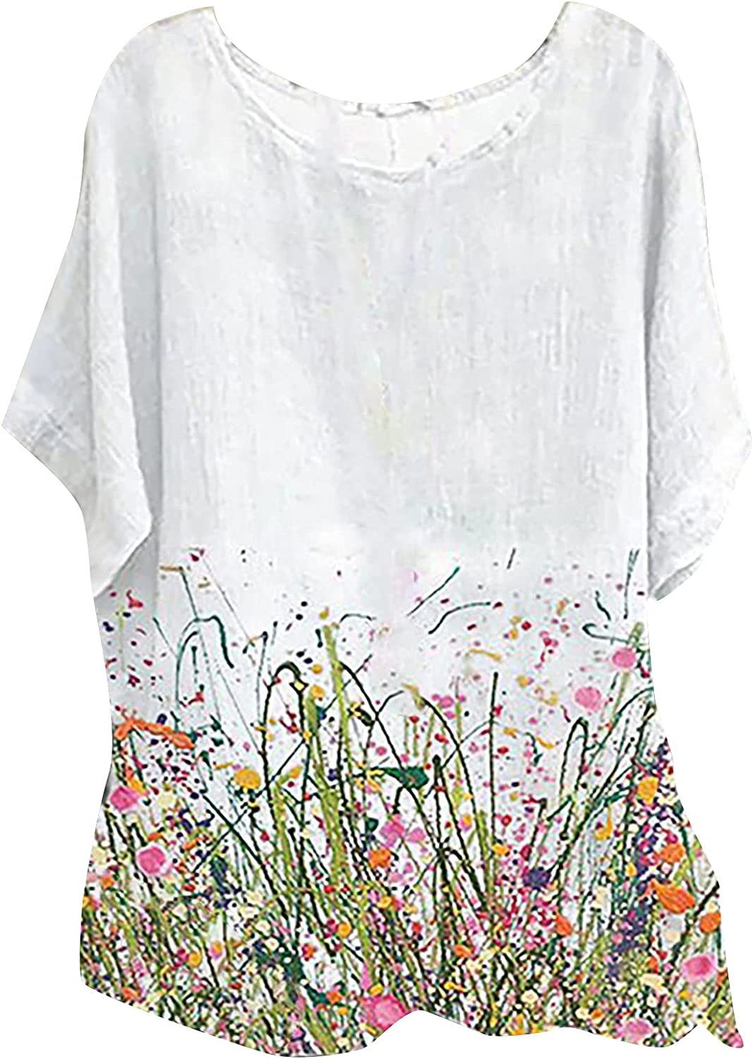 BOXIACEY Women's Summer Shirts O-Neck Loose Blouse Short Sleeve Cotton Linen Print Tops Plus Size Tees